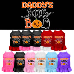 Daddy's Little Boo Screen Print Dog Dress