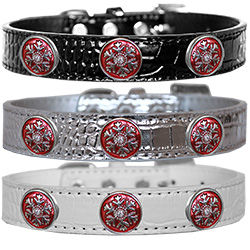 Ruby Red Snowflake Halo Croc Dog Collar