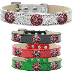 Ruby Red Snowflake Halo Ice Cream Dog Collar