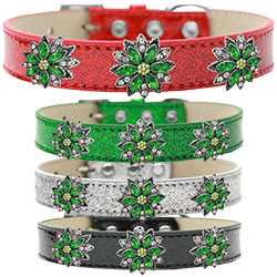 Green Poinsettia Halo Ice Cream Dog Collar