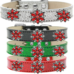 Red Poinsettia Halo Ice Cream Dog Collar