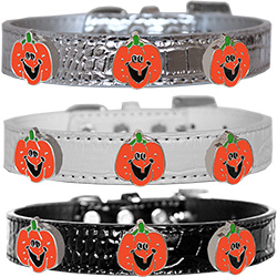 Enamel Pumpkin Halo Croc Dog Collar