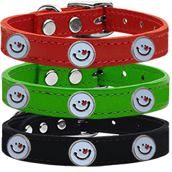 Frosty Face Widget Genuine Leather Dog Collar