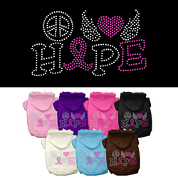 Peace Love Hope Breast Cancer Rhinestone Pet Hoodie