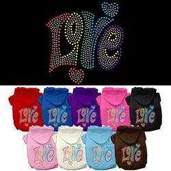 Technicolor Love Rhinestone Pet Hoodie