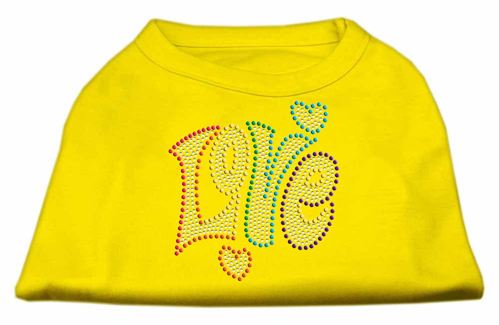Technicolor Love Rhinestone Pet Shirt Yellow XXL (18)