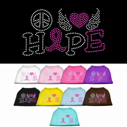 Peace Love Hope Breast Cancer Rhinestone Pet Shirt