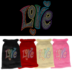 Technicolor Love Rhinestone Knit Pet Sweater