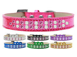 Two Row Pearl and Pink Crystal Ice Cream Dog Collars