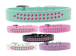 Two Row Bright Pink Crystal Dog Collars