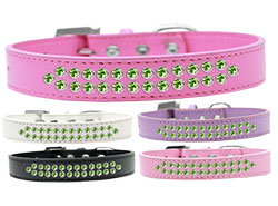 Two Row Lime Green Crystal Dog Collars