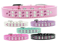 Two Row Pearl and Pink Crystal Dog Collars