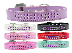 Two Row Purple Crystal Dog Collars