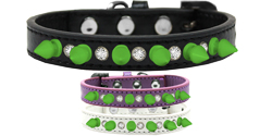 Crystal and Neon Green Spikes Dog Collar