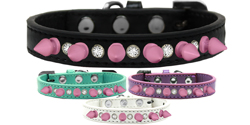 Crystal and Light Pink Spikes Dog Collar