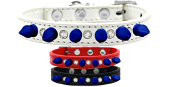 Crystal and Blue Spikes Dog Collar