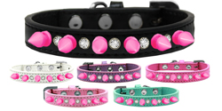 Crystal and Bright Pink Spikes Dog Collar