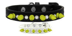 Crystal and Neon Yellow Spikes Dog Collar