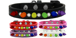Crystal with Rainbow Spikes Dog Collar
