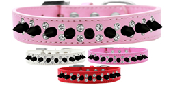 Double Crystal and Black Spikes Dog Collar