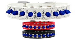 Double Crystal and Blue Spikes Dog Collar
