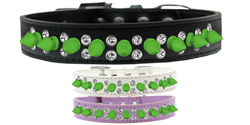 Double Crystal and Neon Green Spikes Dog Collar