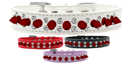 Double Crystal and Red Spikes Dog Collar
