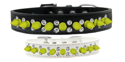 Double Crystal and Neon Yellow Spikes Dog Collar