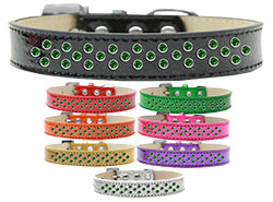 Sprinkles Ice Cream Dog Collar Emerald Green Crystals
