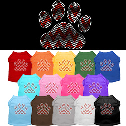 Candy Cane Chevron Paw Rhinestone Pet Shirt