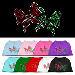 Christmas Bows Rhinestone Pet Shirt
