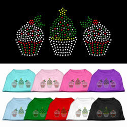 Christmas Cupcakes Rhinestone Pet Shirt