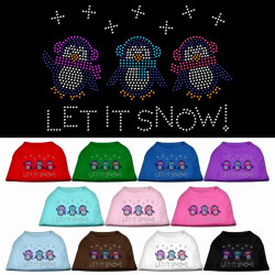 Let It Snow Penguins Rhinestone Pet Shirt