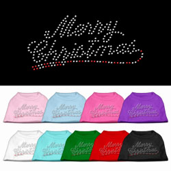 Merry Christmas Rhinestone Pet Shirt