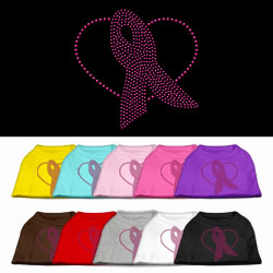 Pink Ribbon Rhinestone Pet Shirts