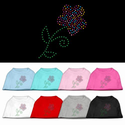 Multi-Colored Flower Rhinestone Pet Shirt