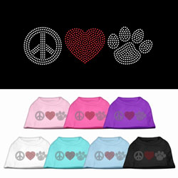 Peace Love and Paw Rhinestone Pet Shirt