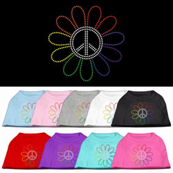 Rainbow Flower Peace Sign Rhinestone Pet Shirts