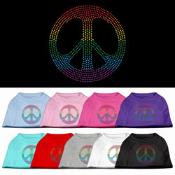 Rainbow Peace Sign Rhinestone Pet Shirts