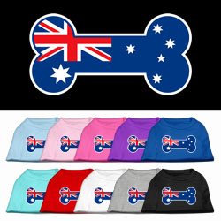 Bone Shaped Australian Flag Screen Print Pet Shirts