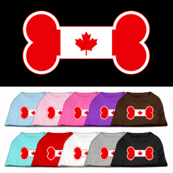Bone Shaped Canadian Flag Screen Print Pet Shirts