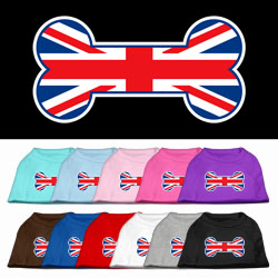 Bone Shaped United Kingdom (Union Jack) Flag Screen Print Pet Shirts