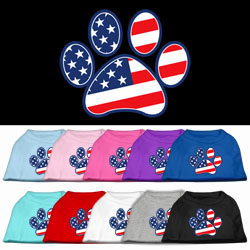 Patriotic Paw Screen Print Pet Shirts
