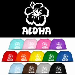 Aloha Flower Screen Print Pet Shirt