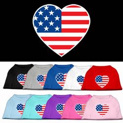 American Flag Heart Screen Print Pet Shirt