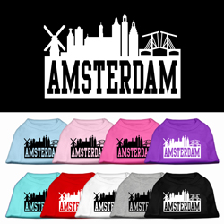 Amsterdam Skyline Screen Print Pet Shirt
