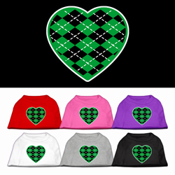 Argyle Heart Green Screen Print Pet Shirt