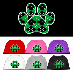 Argyle Paw Green Screen Print Pet Shirt