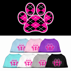Argyle Paw Pink Screen Print Pet Shirt