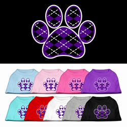 Argyle Paw Purple Screen Print Pet Shirt